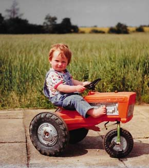 Stephen Wallace on a tractor